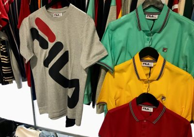 FILA's retro athletic line featuring bright colors and big logos is very popular in the skate and streetwear market