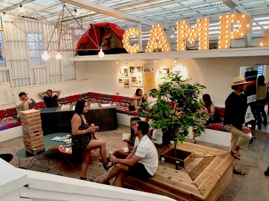 The lounge area where shoppers can hang out and play jenga.