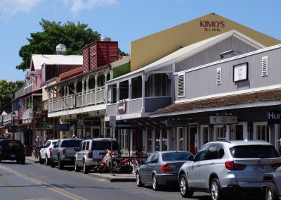 A view of the industry presence on Front Street - the new Stoke House shop is next door to the Hurley store