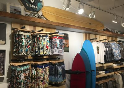 Vissla boarshorts are in the front of the store