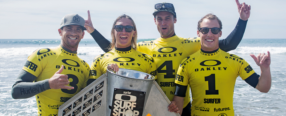 2016 Oakley Surf Shop Challenge National Champs: Huntington Surf & Sport featuring  (from left to right) Brett Simpson