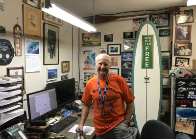 Surfside co-owner Paul Burnett was upstairs handling the most important part of the business - the money