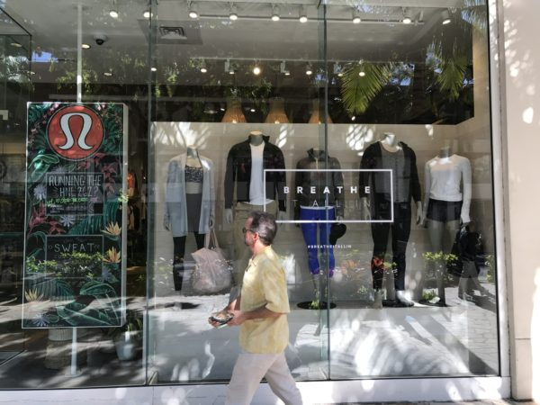 The Lululemon window in Waikiki - You would never know they have moved into swim and surf